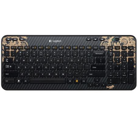 Logitech K360 Wireless RF Victorian Wallpaper USB Keyboard, 6 Hot Keys, 12 Programmable F-Keys, Black