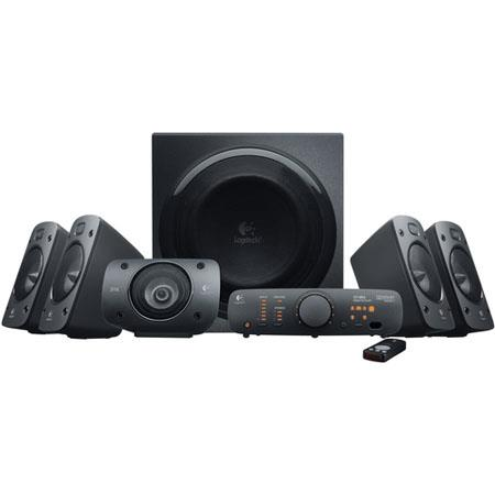 Logitech Z906 5.1 Dolby Digital Sound Speaker, 500W RMS Power, Four Satellite Speakers, Wireless Infrared Remote, Console for Managing Sound