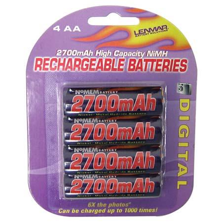Lenmar AA No-Memory PRO Rechargeable Batteries, 1.2 volt Nickel Metal Hydride (NiMh), 2700 mAh, Pack of Four. image