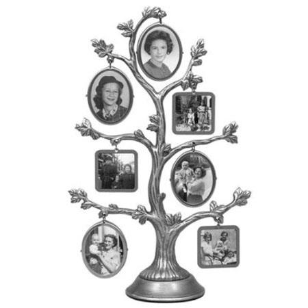 Malden International Family Tree, Fashion Pewter Metal Tree, 2-Sided with 14-Small Frames