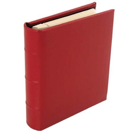 "Malden International Gramercy Leather Collection Series, Ringbound Photo Album, Holds 50 4"" x 6"" Photos, 1 per Page, Color: Red image"