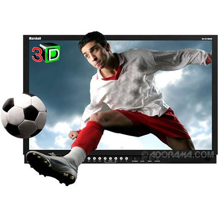 "Marshall Electronics 24"" 3D LCD Monitor with Dual HDSDI Inputs, 2 3D (Right Eye / Left Eye) Camera Rigs, 1920x1200 Resolution, 1000:1 Contrast Ratio"