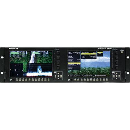 "Marshall Electronics Marshall Electronics OR-702 Orchid Series Dual 7"" LCD Rack Mount Monitor Set with HDSDI Inputs,..."