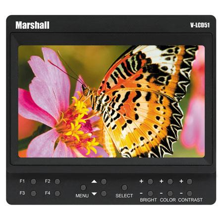 "Marshall Electronics V-LCD51 5"" LCD Monitor and Pre-Installed Panasonic CGA-D54 Battery Adapter, 800x480 Resolution, 600:1 Contrast Ratio, 300 cd/m2 Brightness"