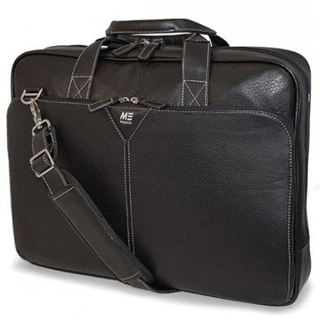 "M-Edge 16"" Deluxe Full Grain Leather Laptop Briefcase, Black"