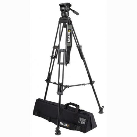 Miller Compass 15 Fluid Head System 1828 with 2 Stage 75mm Alloy Tripod & Above Ground Spreader - Supports 55 lbs., Max. Height 61.4""
