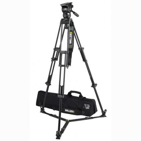 Miller Compass 20 Fluid Head System 1840 with 2 Stage 75mm Alloy Tripod & Ground Spreader - Supports 55 lbs., Max. Height 61.4""