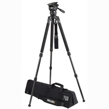 Miller Compass 20 Fluid Head System 1844 with Solo DV 2 Stage Alloy Tripod - Supports 44 lbs., Max. Height 63.5""