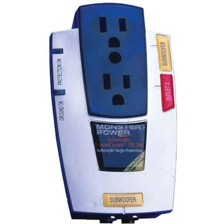 Monster Subwoofer PowerCenter SW 200 Surge Protector, with 2 Outlets & 1 RCA Connection, with Clean Power