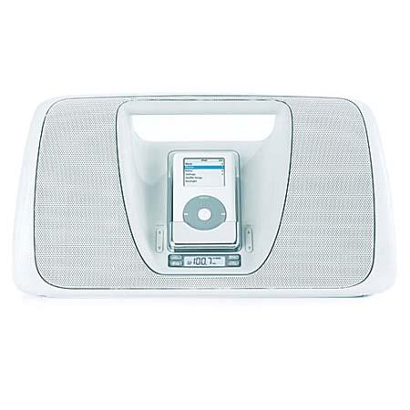 Memorex Mi3005 iMove, Portable Digital AM/FM Radio Boombox with Remote & iPod Dock - White image