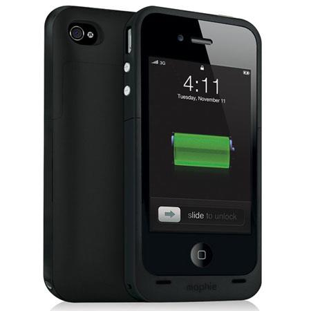 Mophie Juice Pack Plus Rechargeable External Battery Case for iPhone 4/4s, Black