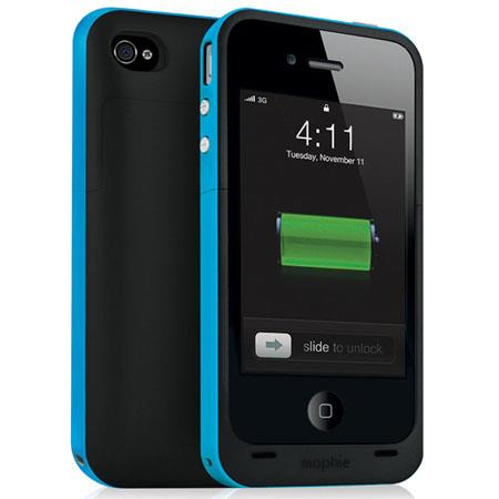 Mophie Juice Pack Plus Rechargeable External Battery Case for iPhone 4/4s Cyan