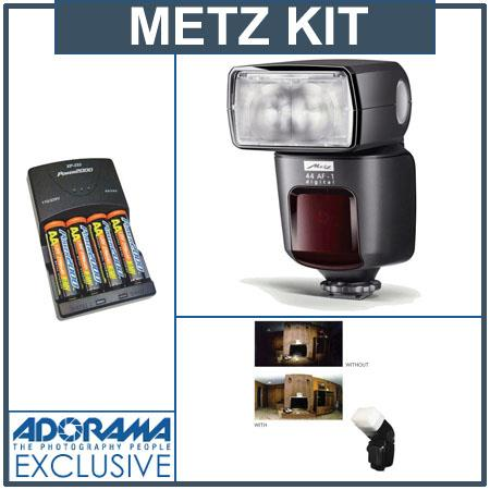 Metz 44 AF-1 Flash Mode / Pre-Flash TTL for Sony Alpha Digital Cameras - Bundle - with 4 NiMH Batteries, Charger, Sto-Fen Omni-Bounce
