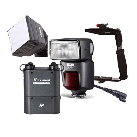 Metz 52 AF-1 TTL Touchscreen Shoe Mount Flash for Olympus/Panasonic/Leica DSLRs - Bundle With Flashpoint Blast Power Pack, FP Blast Pack Flash Cable F/, FP Mini SoftBox Diffuser, Flashpoint Quick Flip Flash Bracket