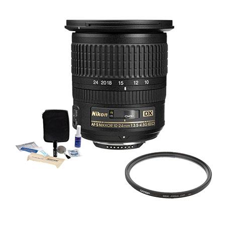 Nikon 10-24mm f/3.5-4.5G ED-IF AF-S DX Lens F/DSLR Cameras - U.S.A Warranty - Accessory Bundle with Tiffen 77mm UV Wide Angle Filter, Professional Lens Cleaning Kit