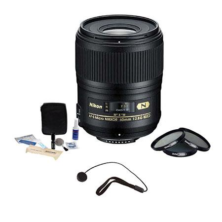 Nikon 60mm f/2.8G AF-S Micro Nikkor AF ED Lens -  U.S.A. Warranty - Accessory Bundle with Tiffen 62mm Photo Essentials Filter Kit, Lens Cap Leash, Professional Lens Cleaning Kit