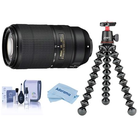 Nikon AF-P NIKKOR 70-300mm f/4.5-5.6E EDIF VR Lens, USA Warranty - with Joby GorillaPod 3K Kit Black, Cleaning Kit,...