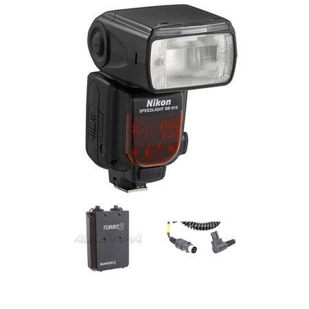 Nikon SB-910 TTL AF Shoe Mount Speedlight, USA Warranty - Bundle - with Quantum Turbo 3 Rechargeable Battery  Quantum Cable CK-E2 for Turbo Battery for Nikon Flash