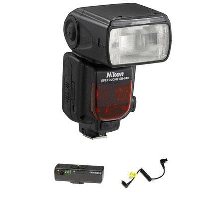 Nikon SB-910 TTL AF Shoe Mount Speedlight, USA Warranty - Bundle - with Quantum Turbo Blade Ultra Compact Battery Pack & Quantum CCKE Cable for the Turbo Compact Battery for Flashes