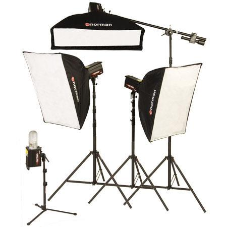 Norman ML-KIT2000R 4 Light Studio 3 Softbox Kit with 2 ML600R & 2 ML400R Monolights, 3 Softboxes with Rings, Boom Arm, Light Stands, & BG Light Reflecor