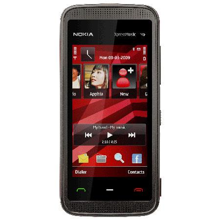 Nokia 5530 XpressMusic Cellular Phone with 3.2 Megapixel Camera, GSM Technology, Black with Red Accents image