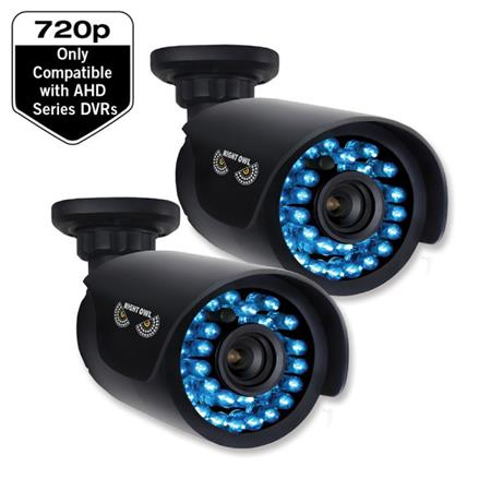 Night Owl 720p HD Security Bullet Cameras with 100' Night Vision for AHD Series DVRs Only, 1.0MP, 2 Pack