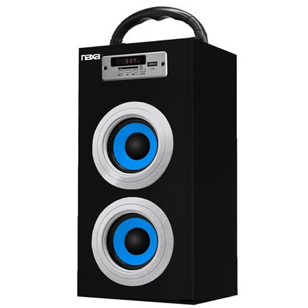 Naxa NAS-3036 10W Portable Speaker with Built-In MP3 Player, Supports USB/SD/MMC, FM Radio with Display, 3.5mm AUX Audio Input, Single, Blue