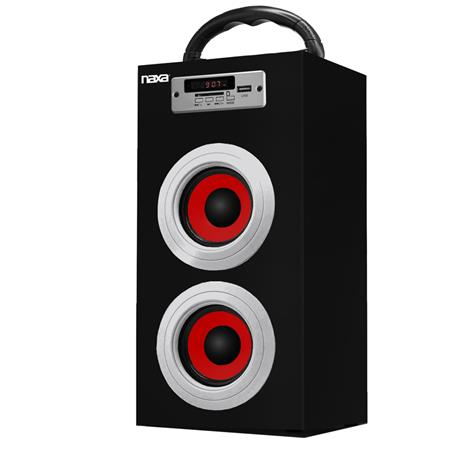 Naxa NAS-3036 10W Portable Speaker with Built-In MP3 Player, Supports USB/SD/MMC, FM Radio with Display, 3.5mm AUX Audio Input, Single, Red