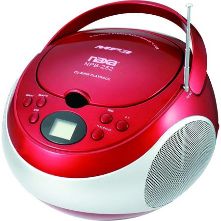 Naxa Portable MP3/CD Player with AM/FM Stereo Radio, Red