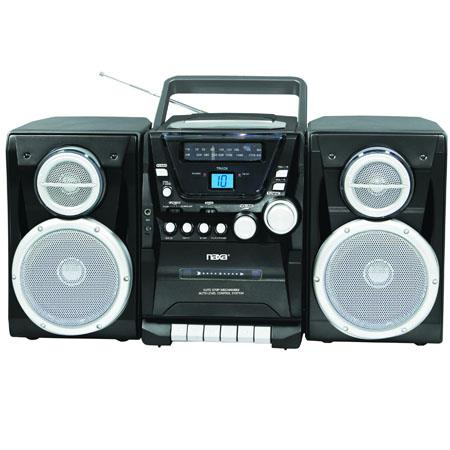 Naxa Portable MP3/CD Player with AM/FM Stereo Radio Cassette Player/Recorder, Twin Detachable Speakers & Remote Control