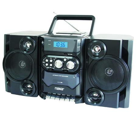Naxa Portable MP3/CD Player with AM/FM Stereo Radio Cassette Player/Recorder, Twin Detachable Speakers, Remote Control & USB Input