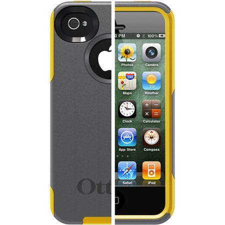 Otterbox Commuter Case for iPhone 4S, Gunmetal Grey PC / Sun Yellow Slip Cover