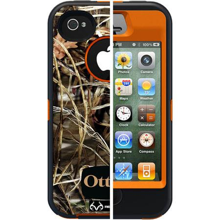 Otterbox Defender Case for i-Phone 4S - Blaze Orange/Max 4 Camo Pattern