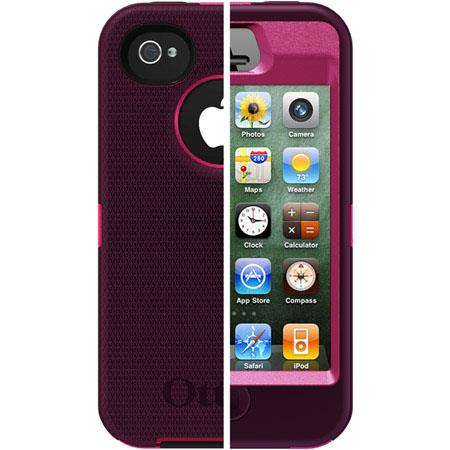 OtterBox Defender Case for iPhone 4S - Peony Pink Plastic / Deep Plum Silicone