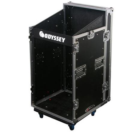 Odyssey FZSRP1112W Flight Zone Space Saver Combo Rack Case with Wheels for 11 Space Slanted Rackmount Gear & 12 Space Vertical Gear