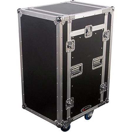 Odyssey FZSRP1116W Flight Zone Space Saver Combo Rack Case with Wheels for 11 Space Slanted Rackmount Gear & 16 Space Vertical Gear