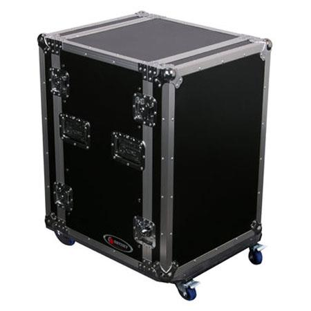 Odyssey Flight Zone FZSRPAR16W Space Saver Amp Rack Case with Wheels for 16 Space Rackmount Gear