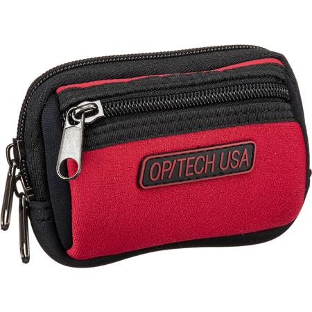 Op/Tech Zippeez, Soft Belt Style Pouch for Small Digital Point-n-Shoot Cameras, Small, Red.