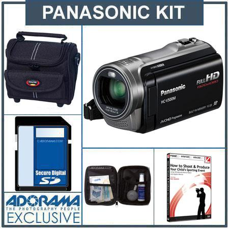 Panasonic HC-V500 HD Camcorder, Black - Bundle - with 16GB SD Memory Card, Camcorder Case, Digital Lens Cleaning Kit,Replacement Spare Battery ,Adorama USB 2.0