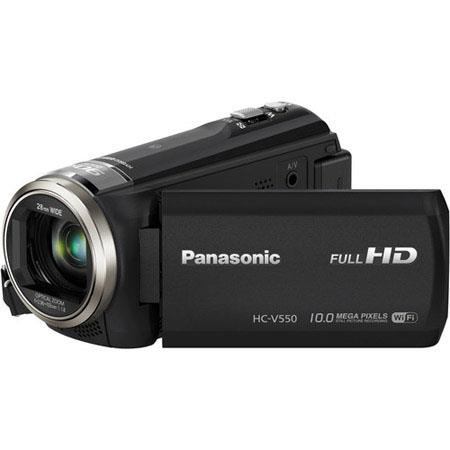 "Panasonic HC-V550 1080p Full HD 50x Stable Zoom Camcorder, 2.20MP, 3"" Wide LCD Monitor, Built-In Wi-Fi, NFC, USB 2.0, HDMI"