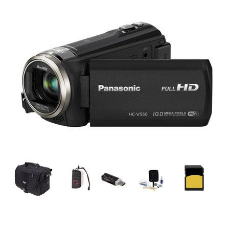 Panasonic HC-V550 1080p Full HD Camcorder, 2.20MP, 50x Optical - Bundle With Slinger Photo Video Bag, 16GB Class 10 SDHC Card, Cleaning Kit, SD Card Reader, Memory Wallet