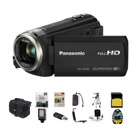 Panasonic HC-V550 1080p Full HD Camcorder, 2.20MP, 50x Optical - Bundle With Slinger Photo Video Bag, 32GB Class 10 SDHC Card, New Leaf 3 Year (Drop & Spills) Warranty, Cleaning Kit, SD Card Reader, Screen Protector, Sunpack Tripod, Memory Wallet, RA Brac
