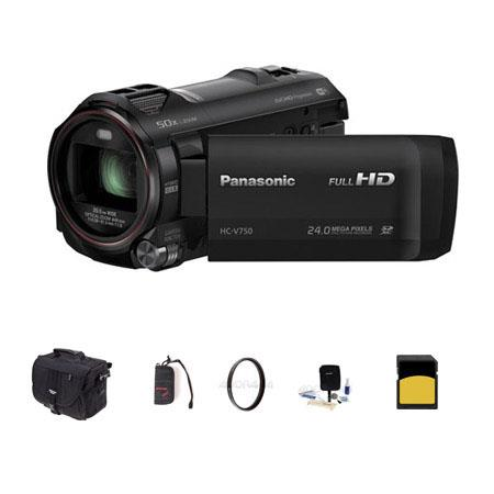 Panasonic HC-V750 1080p Full HD Camcorder, 6.03MP, 20x Optical Bundle With Slinger Photo Video Bag, 16GB Class 10 SDHC Card, Cleaning Kit, Memory Wallet, 49MM UV Filter