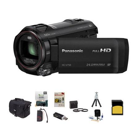Panasonic HC-V750 1080p Full HD Camcorder, 6.03MP, 20x Optical Bundle With Slinger Photo Video Bag, 32GB Class 10 SDHC Card, New Leaf 3 Year Extended warranty, Cleaning Kit, Memory Wallet, Table Top Tripod, 49MM Filter Kit, Screen Protector, SD Card Reade