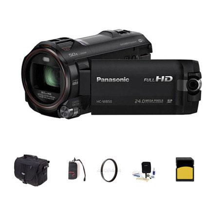 Panasonic HC-W850 Twin Camera 1080p Full HD Camcorder, 6.03MP, 20x Optical - Bundle With Slinger Photo Video Bag, 16GB Class 10 SDHC Card, Cleaning Kit, Memory Wallet, 49MM UV Filter