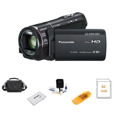 Panasonic HC-X920 Ultrafine Full HD Camcorder - BUNDLE - with Camera Case, 16GB Class 10 SDHC Card, Spare Battery, Lens Cleaning Kit, Adorama USB 2.0 Multi Card Reader, Adorama Memory Card Holder