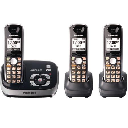 Panasonic KX-TG6533B Expandable Digital Cordless Phone with Answering System with 3 Handsets