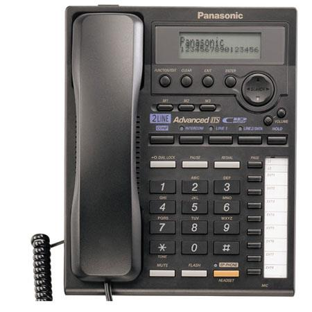 Panasonic KX-TS3282B 2-Line Integrated Phone System with Intercom, Black