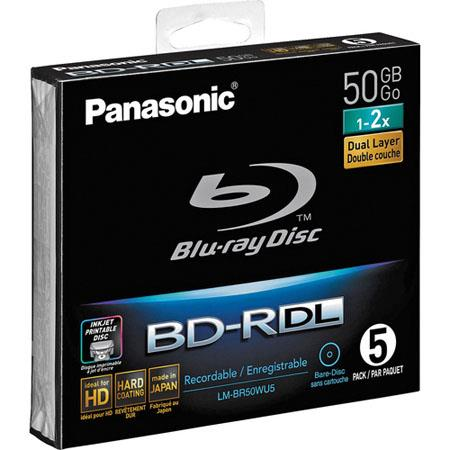 Panasonic LM-BR50LDE Five (5) Pack 50GB Single-Sided Single Layer 24x Speed (72Mbps) Write Once (R) Blue-ray Printable Discs
