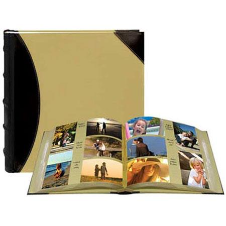 "Pioneer Sewn BookBound Photo Album, Fabric Leatherette Cover, Holds 500 4"" x 6"" Photos, 5 Per Page, Color: Black/Beige. image"